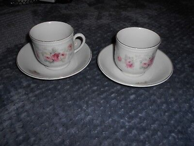 VINTAGE Beautiful Hand Painted Made in Germany 2 Cup & Saucer Sets Floral Design