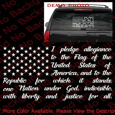 46f78aa5aa American Flag Pledge of Allegiance Vinyl Decal Sticker Car Truck Window  US019
