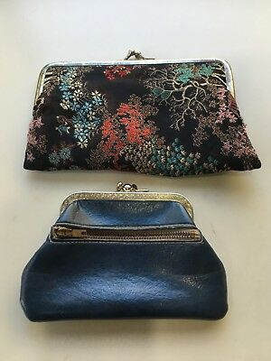 2 Vintage purses.1x Asian Silky fabric twist clasp.1x blue leather. zip & clasp
