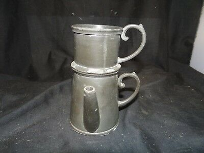 early pewter one cup tea pot,cute as a button! two pieces,5'' tall