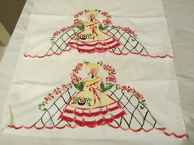 """Vintage Pillowcases Southern Belle Lady Machine ? Embroidered Lace Sml 18"""" x 25"""""""