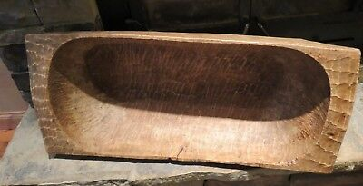"Hand Carved Antique Wooden Dough Bowl, 35"" Long, Circa 1900, primitive, farm"