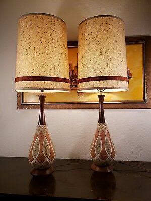 Mid Century Danish Modern Ceramic Pottery & Walnut Table Lamps w/Original Shades
