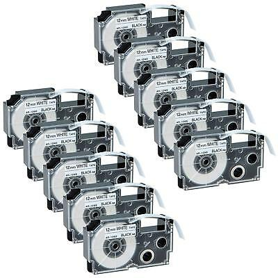 10PK Compatible Casio Label Tape XR-9WE Black on White Label Maker 9mm EZ-Serial
