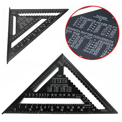 12'' Black Aluminum Alloy Speed Square Quick Roofing Rafter Triangle Ruler Guide