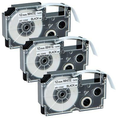 3PK XR-9WE Compatible Casio Label Tape Black on White Label Maker 9mm EZ-Serial
