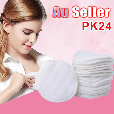 24pcs Washable Pad Organic Plain Reusable Breast Pads Nursing