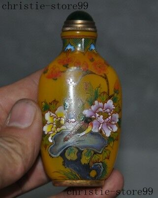 Old China glass Inlay Gem Hand-painted peony flower bird statue Snuff bottle