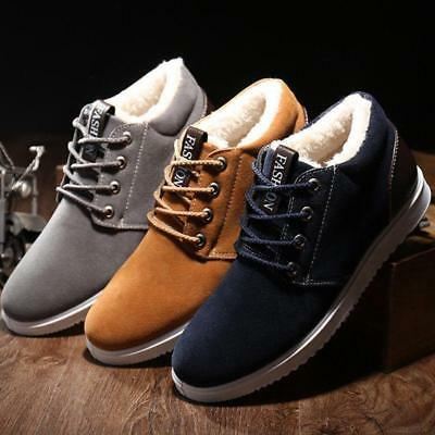 Mens Flats Warm Shoes Casual Winter Thicken Snow New Fleece Lace Up Ankle Boot