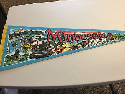 Vintage State of Minnesota Geographical Highlights Aqua Blue Pennant