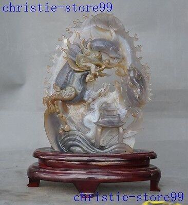 """A"""" Old Chinese Natural Agate Onyx Hand-carved Feingshui house Dragon fish statue"""