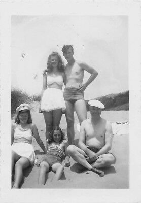 SHIRTLESS MEN SWIM SUIT TRUNK BIKINI TOP WOMEN BEACH BULGE VTG Gay Int PHOTO S56