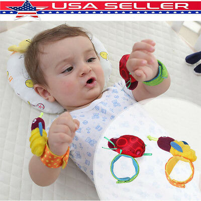 Newborn Baby Boy Girl Infant Soft Toy Wrist Band Rattles Finders Wristband US