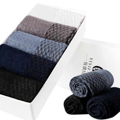 5 Pairs Men Socks Bamboo Fiber Breatheable Socks Casual Anti-Bacterial Deodorant