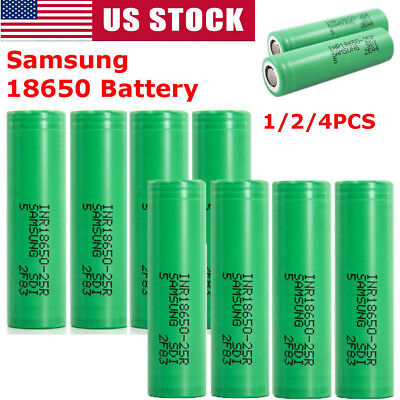 2/4Pc 18650 Samsung- 2500mAh 35A Rechargeable Battery for Vape Mods Free Case