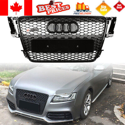 Black Front Radiator Grille Grill For Audi A5 S5 B8 RS5 2008 2009 2010 2011 2012