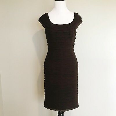 037db1f2 TADASHI Tiered Layered Brown Weighty 3/4 Sleeve Low Cut Midi Sheath Dress  Size L. $34.99 Buy It Now 20d 6h. See Details. Tadashi Collection $350 Brown  ...