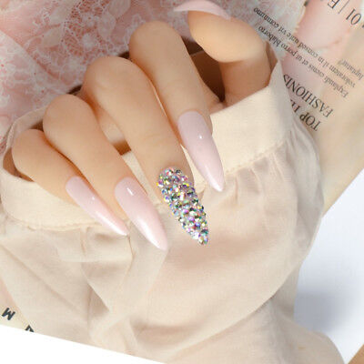 Long Pink Stiletto Bling Crystal False Nail DIY 3D Shiny Press On Fake Nails