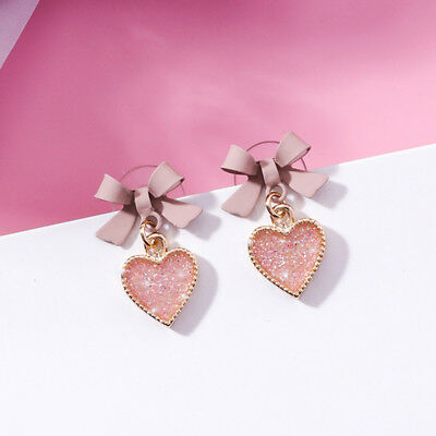 Women Crystal Cute Bow Ear Stud Love Heart Drop Earring Fashion Jewelry Gifts