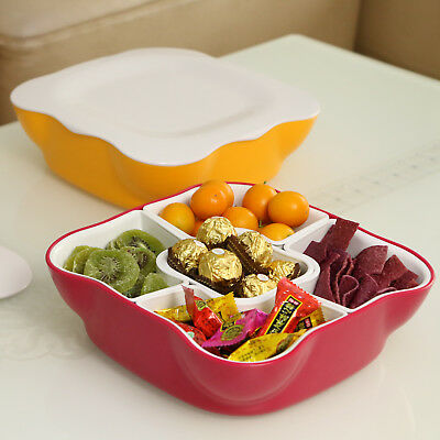 Candy Dried Fruit Snack Dish Plate With 5 Separated Compartments & Lid for Party