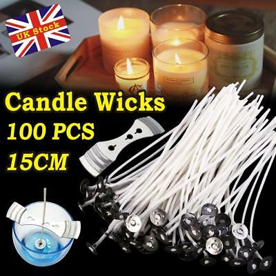 100 pcs High Quality Pre Waxed Wicks With Sustainers For Candle Making New UK