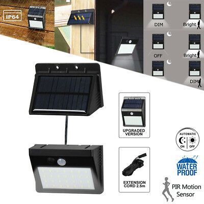 2 in 1 Solar Power PIR Motion Sensor 28 LED Wall Lights In/Outdoor Security Lamp