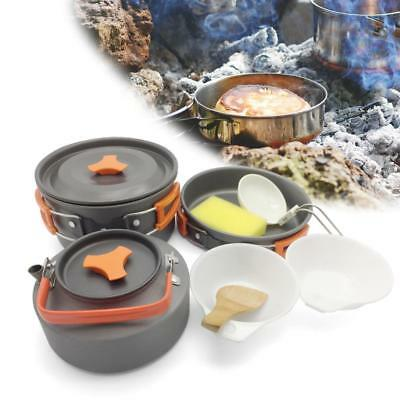 8pcs 2-3 Persons Cookware Bowl Pot Spoon for Outdoor Camping Hiking Backpacking