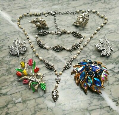 Job Lot Of Signed Vintage Jewellery For Spare Repair