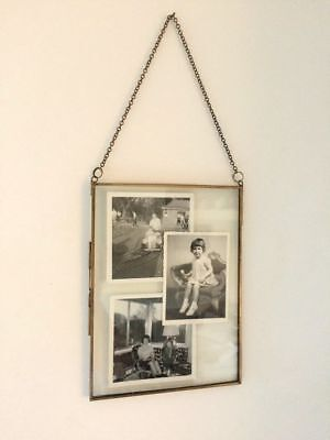 SECONDS Antique Brass Picture Photo Frame Glass Metal Portrait Industrial Style