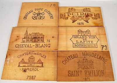 Lot of 6 French Wine Crate Fronts 1960-1970 Wood Panel Vintage Petrus Rothschild