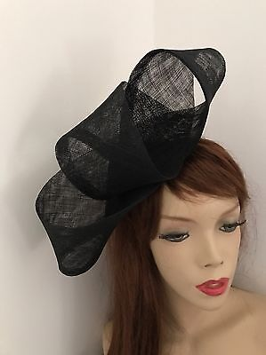 Fascinator Black Loop Hatinator Wedding Hat Formal Ladies Headpiece Ascot Races