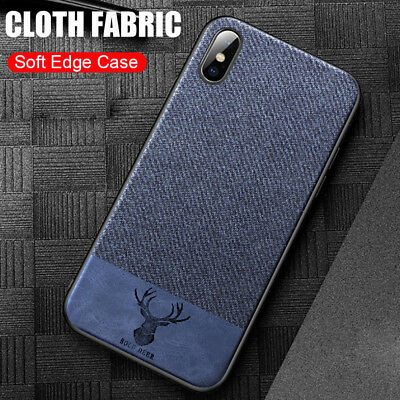 For iPhone XS MAX XR X Soft TPU Silicone Shockproof Covers Cloth Texture Case