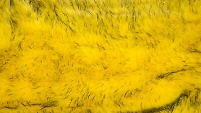 Super Luxury Faux Fur Fabric Material LONG SKY YELLOW