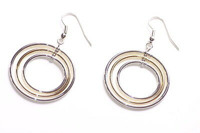 Hoops Are Us Triple Chrome & Bronze Circular Pendulum Metal Earrings(Zx207)TR