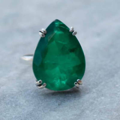 Pear Faceted Emerald Gemstone 925 Sterling Silver Prong Set Ring USA Size