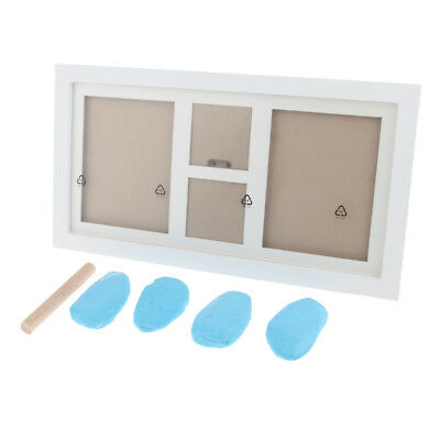 Baby Handprint Footprint Photo Frame Kit with Clean-Touch Ink Pad Light Blue