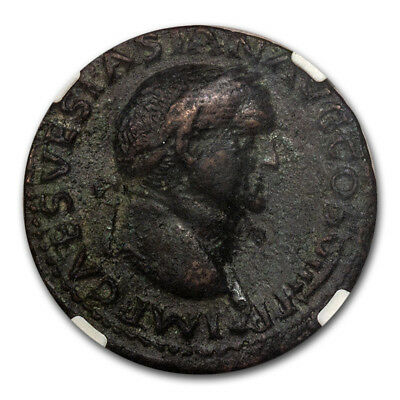 Roman Bronze As Emp. Vespasian (69-79 AD) Ch VF NGC Judaea Capta - SKU#182201