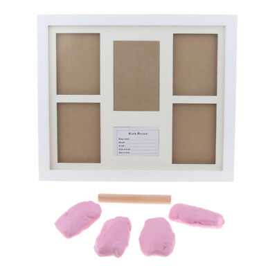 Photo Frame Kit Baby Handprint Footprint with Clean Touch Ink Pad-Pink