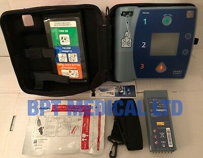 Philips HeartStart FR2+ AED Laerdal DEFIB GOOD Battery, Pads, case. Pass Check.