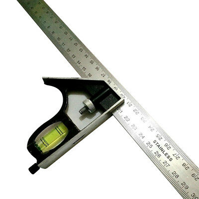 12'' Ruler Squar Measure Woodworking tools Set Stainless Steel Combination T3G9P