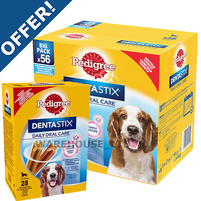 Pedigree Dentastix Dental Dog Oral Chew Treat - Small / Medium / Large 28 Sticks