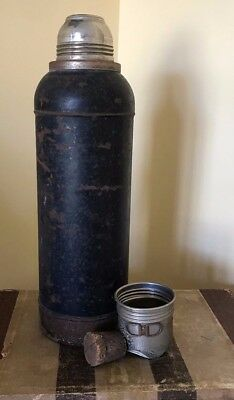Antique 1920's Stanley Super Vac Stainless Steel Unbreakable Thermos USA Cork