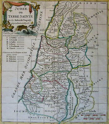 Palestine Holy Land Judea c.1780 Vaugondy engraved hand color decorative map