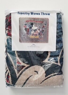 NWT Disney Parks Mickey Mouse USA United States Woven Throw Tapestry Blanket