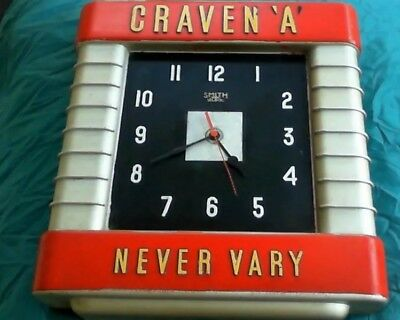 Craven A Never Vary Bakerlite Smiths Setric Clock Retro Red Silver 1920s