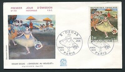 1970 Paris, France FDC - Degas Painting Dancer with Bouquet - Pictorial Cancel