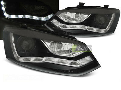 Juego de Faros Optica Marcha Diurna LED para VW POLO 6R 2009-2014 Luz do Dia Neg