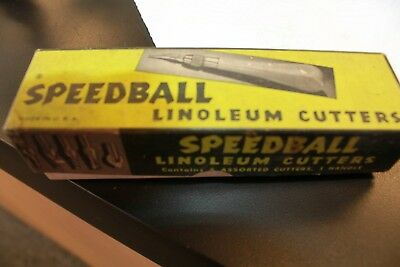 Vintage SPEEDBALL Linoleum Cutter Assortment No. 1 w/ 3 Cutters & Original Box