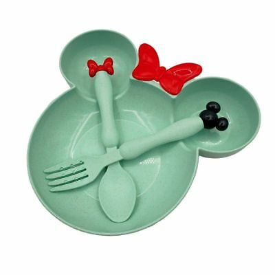 Baby Food 3Pcs Dish Set Plate Spoon Fork Toddler Tableware Training Dinnerware