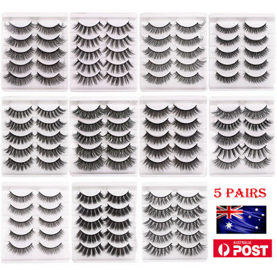 AU 5 Pairs Makeup False Eyelashes Mink Lashes Natural Long Thick Fake Eyelashes